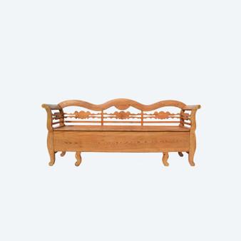 Antique Swedish Country Pine Storage Bench, Circa 1860s