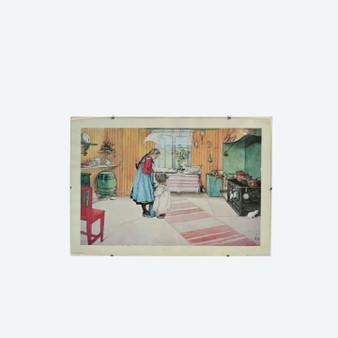"Original Vintage Rare 1972 Lithograph Print ""Koket the Kitchen"" By Carl Larsson"