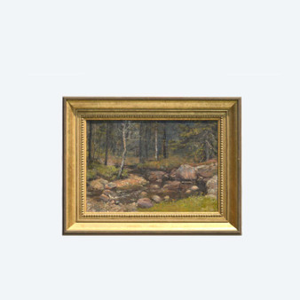 Vintage Oldschool Russian Style Forest Landscape Oil On Canvas, Singed In 1900's