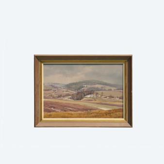 Original Vintage Oil on Cardboard by Václav Kůrka, Smokey Meadow Atmosphere