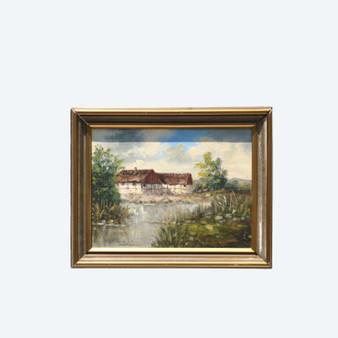 Original Vintage Farm Landscape Oil on Canvas, Signed By Erik Denby In 1935