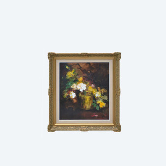 Original 20th Century Oil On Board Floral Still Life with White Roses, Signed