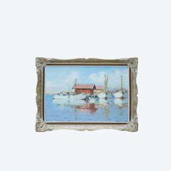 Scandinavian Mid 20th Century Oil Painting By A.Nilsson, Sea Sailing Boat In A Fishing Village