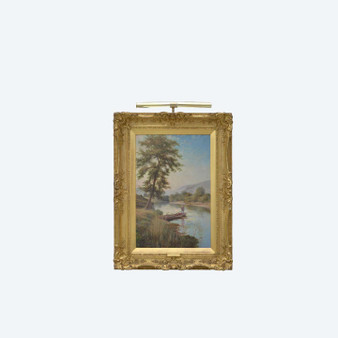 """Original Antique Large Oil On Canvas """"Fishing on the Derwent"""" by H. East"""