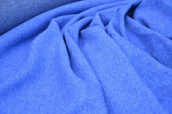 Vintage Blue 100% Wool Double Sided Fabric East Europe 1970s