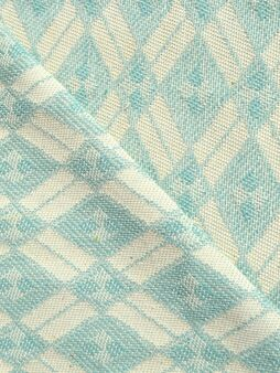 Vintage Woven Eco Mint Blue Fabric of Eastern Europe 1970s
