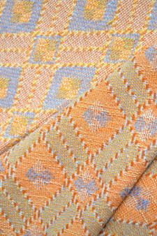 Vintage Woven Eco Orange Blue Fabric Eastern Europe 1970s