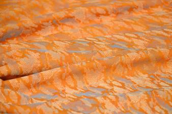 Vintage Woven Eco Orange Blue Sheen Fabric East Europe 1970s