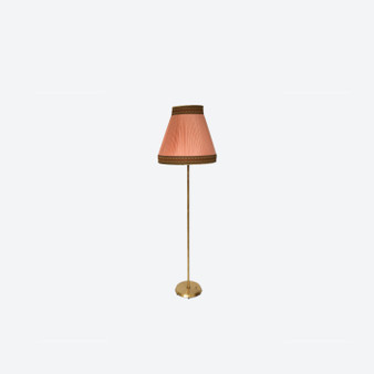 Vintage Brass Floor Lamp with Pink Shade by NAFA Fagerhults Ljusarmatur, Sweden