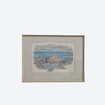 Vintage Lithography Of Swedish Seacoast With Fishermen Cabins, Signed Nr 65/350