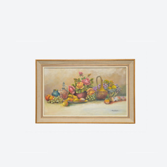 Antique Oil On Canvas Still Life Flower Danish Painting By August Nielsen 1900s