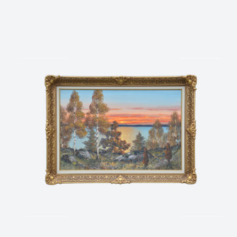 Vintage Oil On Canvas Lakeside Sunset Scenery Painting Signedt T. Björk 1960s