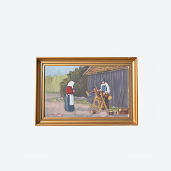 Vintage Oil On Canvas People, Countryside Landscape Painting By H.S In 1950s