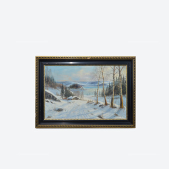Large Antique Oil On Canvas Lake Snow Landscape Painting By A. Wennerberg 1900s