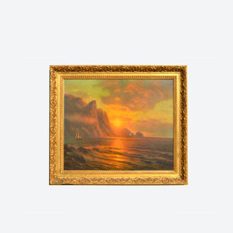 Antique Reproduction On Canvas Norway Sunset Seacoast Painting By Artist 1900s
