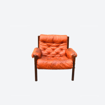 Arne Norrel Easy Chair, Sweden,1960s, Brown Leather