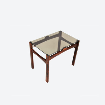 Vintage Danish Style Rosewood Small Coffee Table Glass Top