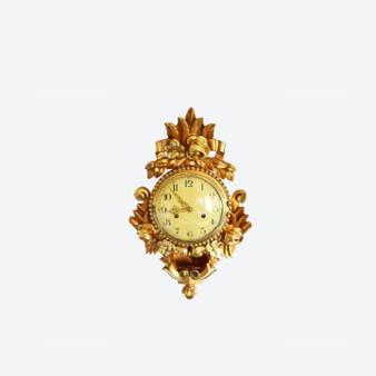 Vintage Gilded Carved Floral Wall Clock By Westerstrand 1960s, Sweden