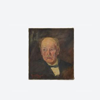 Antique Oil on Canvas Man Portrait Painting Signed By Paul Hansen Mai 1927