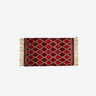 Red Vintage Rya Rug  Scandinavian 1970s