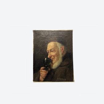 Antique Oil on Canvas Man Portrait Painting (No Frame) By A. Larsen Circa 1900s
