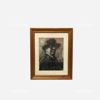 Antique Copper Etching On Paper Gentleman Portrait Painting By Emil Zoir Circa 1900s
