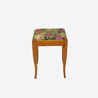 Antique Walnut Dressing Table Stool 1900s Reupholstered