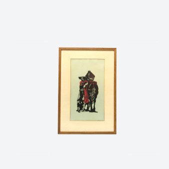 Vintage Lino-cut on Paper Of Spanish Man And Horse Figure, Singed in 1964