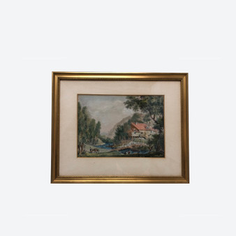 Antique Watercolour Ink Painting Ancient Village Landscape Of Southern Europe 1900s