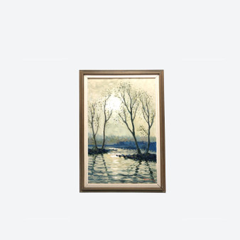 Vintage Oil on Canvas Flooded Winter Landscape Signed By Artist Circa 1960's