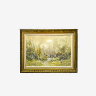 Vintage Oil On Canvas Forest Landscape Painting, Signed By Lars Eriksson, Circa 1960s