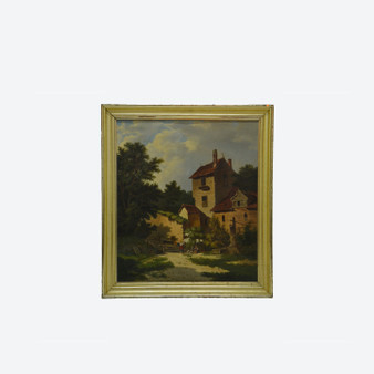 Antique Oil On Canvas Visby Gotland Cityscape Landscape Painting, Signed By Artist 1872