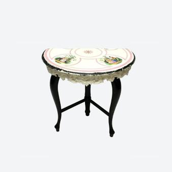 Antique Porcelain Half Moon Table 1800s