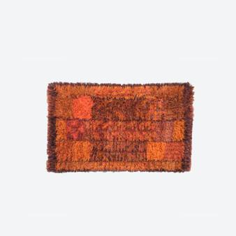 Vintage Swedish Brown Orange Rya Rug By By Marianne Richter For östergyllen Rya, 1960s