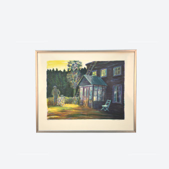 Contemporary Lithography Country House Landscape, Signed By Johan Lundgren 1980s
