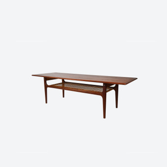 Danish Trioh Mobler  Teak and Cane Coffee Table 1960s