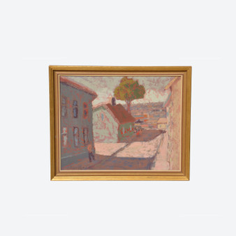 Vintage Oil On Board Paris Street Cityscape Painting, Signed By Frans Rade Circa 1950s