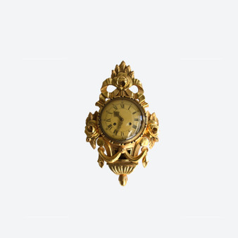 Vintage Gilded Carved Floral Perivale Wall Clock 1960s