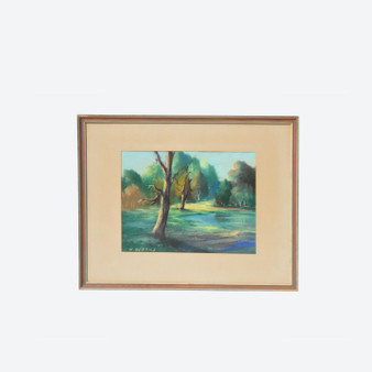 Vintage Pastel On Paper Landscape Drawing, Signed By H. Bertils Circa 1950s