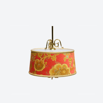 Vintage Classic Style 20th Century Ceiling Lamp in Red and Gold