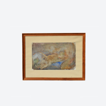 Vintage Watercolour On Paper Nude Woman, Signed By Artist In Paris In 1947