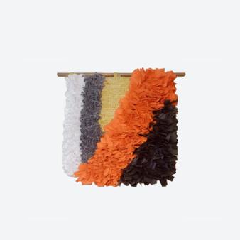 Contemporary Handmade Orange Motive Cotton Wall Decor