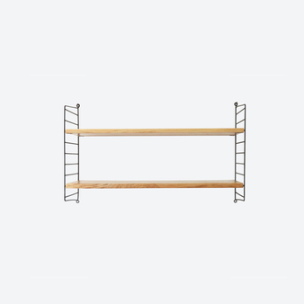 Vintage Oak Wood String System Ladder Shelves, Sweden 1950-60s