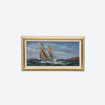 Vintage Oil On Canvas Sea Sailing Boat Painting, By Kurt Erik Heinonen 1960's
