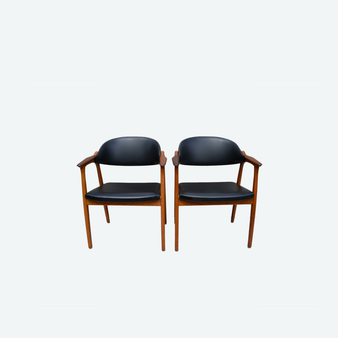 Set of 2 Teak And Faux Leather Vintage Ikea Armchairs, Circa 1960s