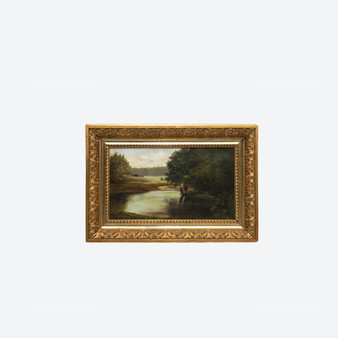 Antique Oil On Canvas Riverside Landscape Painting, By Artist Circa 1900's