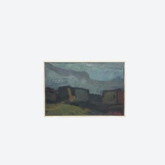Vintage Oil On Canvas Cubism Citys Landscape Painting, Stig Delang Circa 1940's
