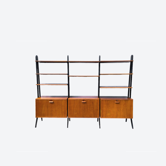 Vintage 8 Shelf 3 Cabinet Mid-Century Oak Shelf System, Made In Sweden, 1960s