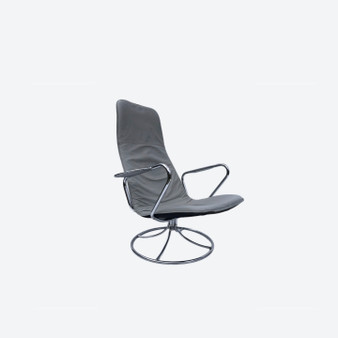 Swedish Vintage Grey Leather And Chromed Steel Lounge Arm Chair, 1970's