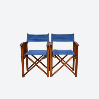 Vintage Pair of Teak Directors Foldable Chairs By Jutlandia Hardwood, 1980's